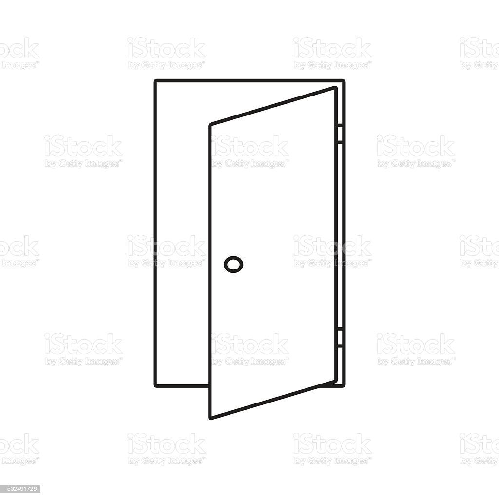 Door line icon vector art illustration