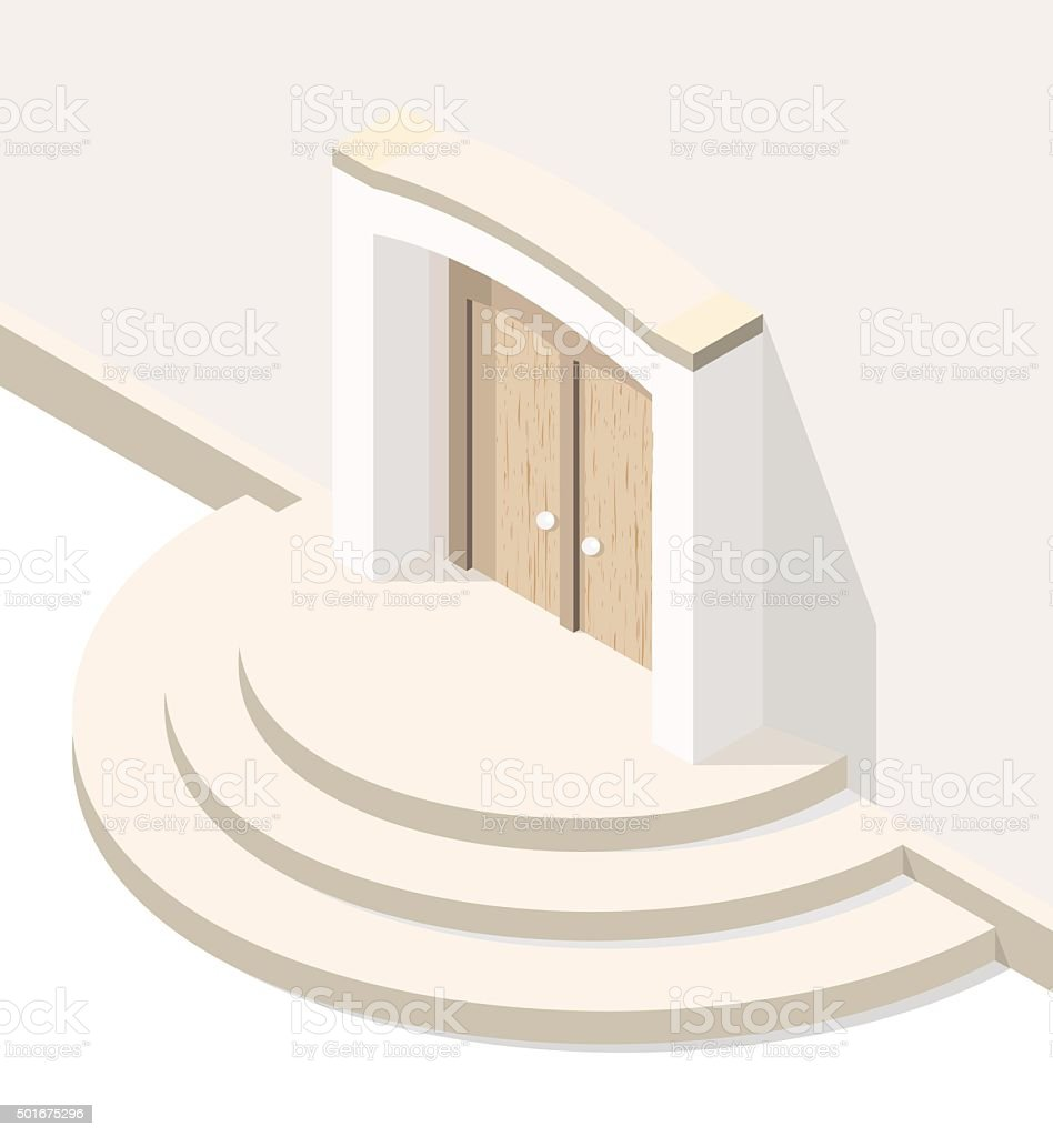 Door on White Background. vector art illustration