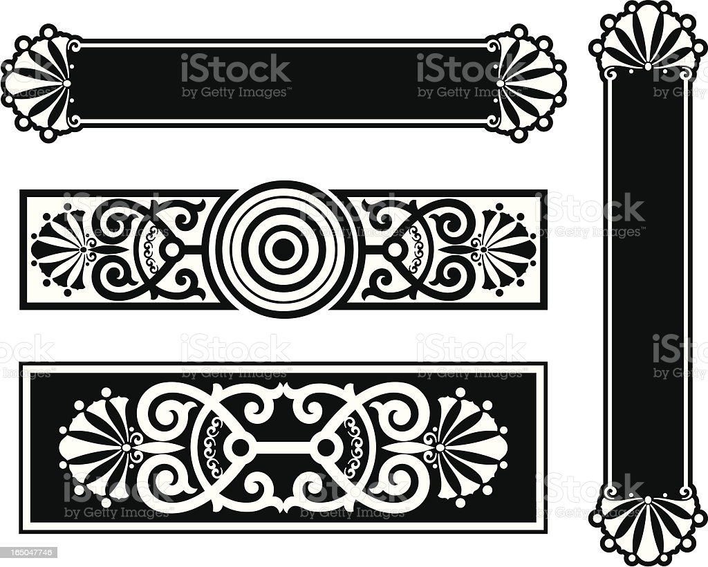 Door Plate and Scroll Design royalty-free stock vector art