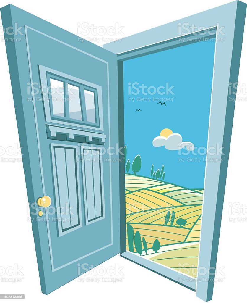 door to the nature vector art illustration