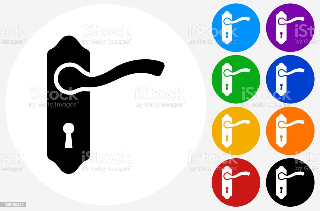 Doorknob Icon on Flat Color Circle Buttons vector art illustration
