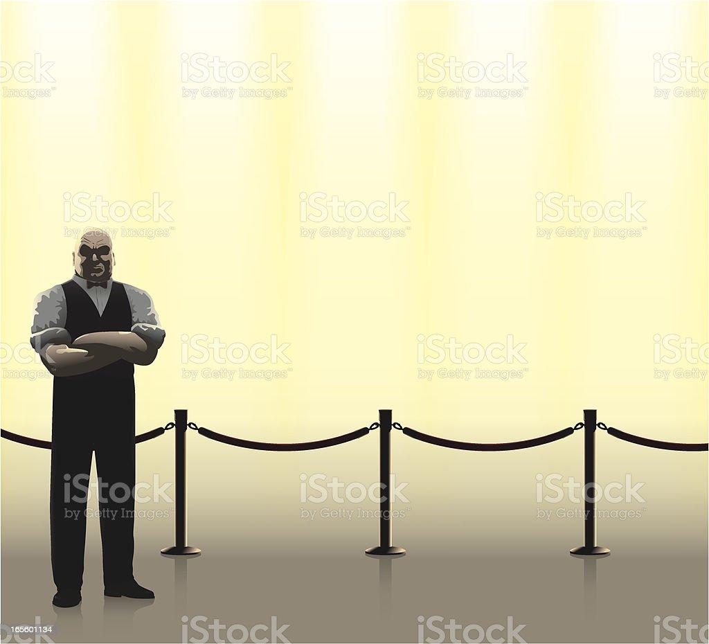 Doorman and barrier vector art illustration