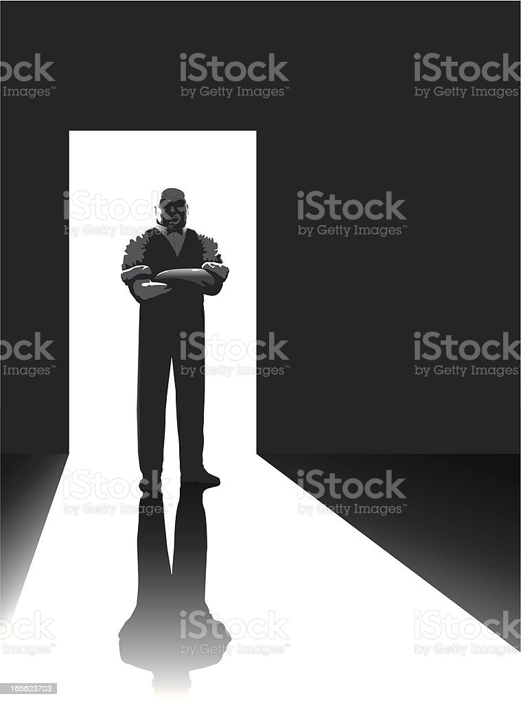 Doorman b/w royalty-free stock vector art