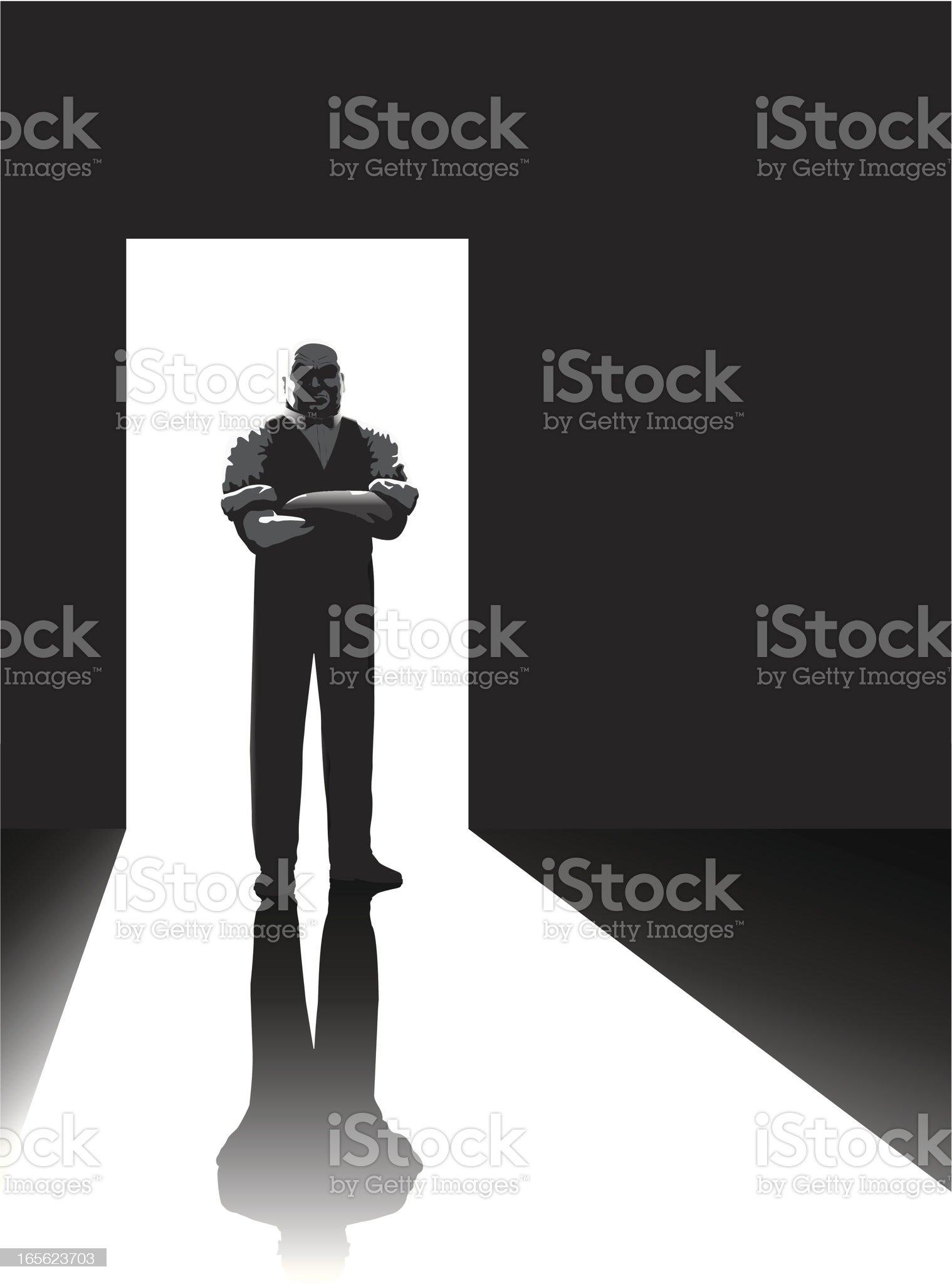 Doorman b/w royalty-free stock vector art