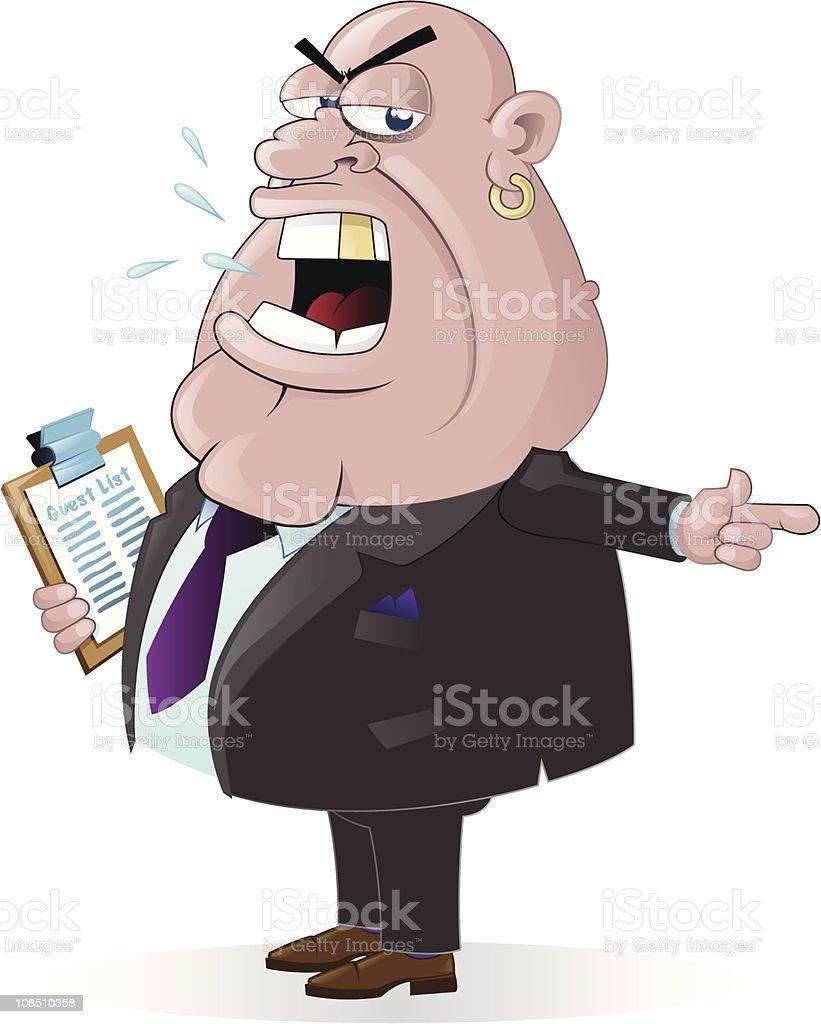 Doorman with guestlist vector art illustration