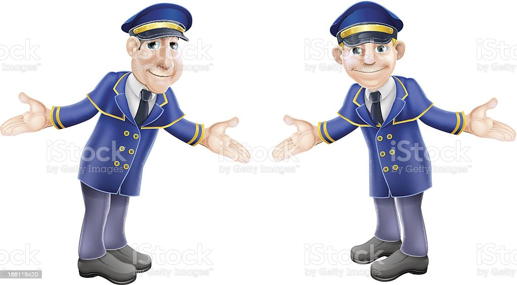 Doormen or bellhops vector art illustration