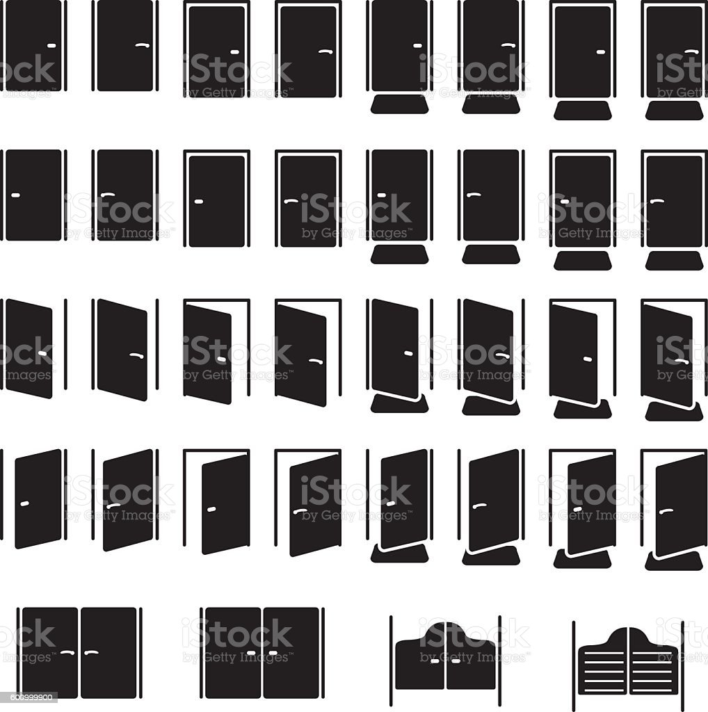 Doors icon set. Vector illustration. vector art illustration
