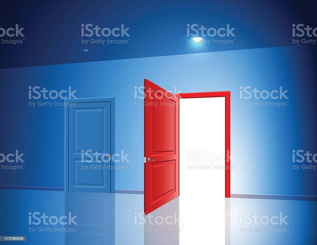 Doors Two Choice Variant Light Open Closed Room Chance vector art illustration