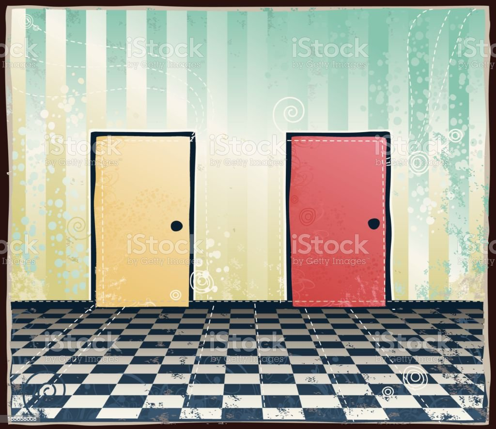 Doors, Two Options royalty-free stock vector art