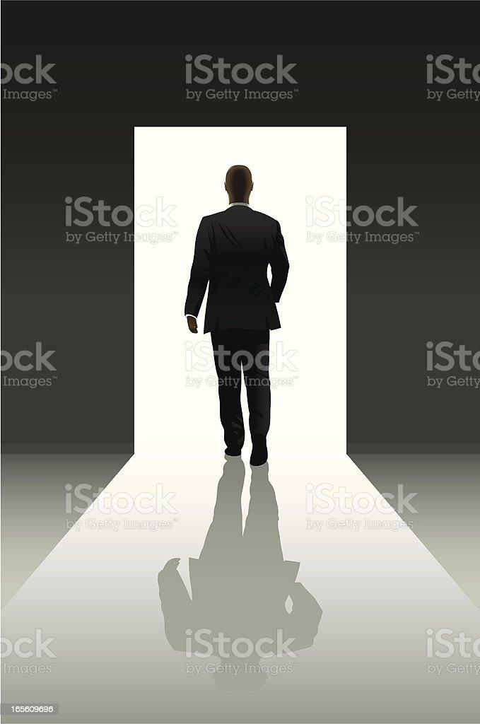 Doorway and businessman vector art illustration