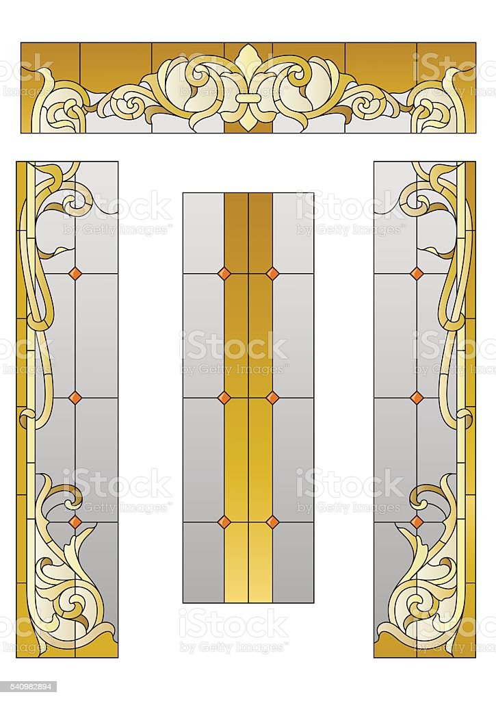 doorway with a stained-glass vector art illustration