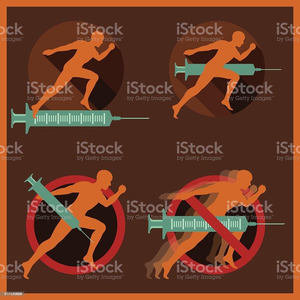 Doping Flat Icons vector art illustration