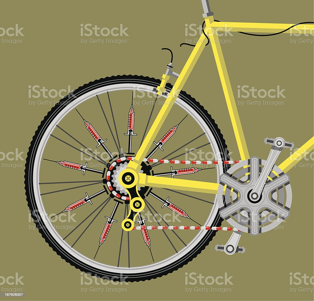 Doping in cycling vector art illustration
