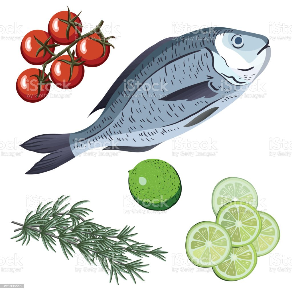 Dorado. Ingredients and spices for cooking fish. vector art illustration