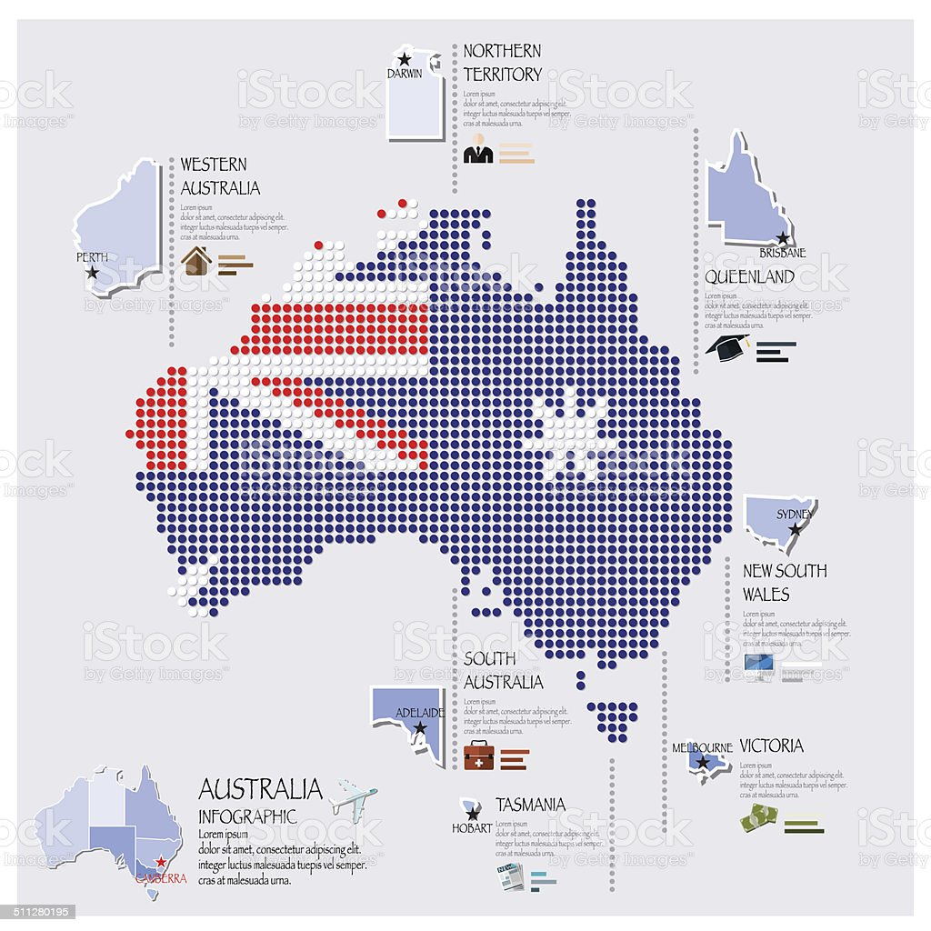 Dot And Flag Map Of Australia Infographic Design vector art illustration