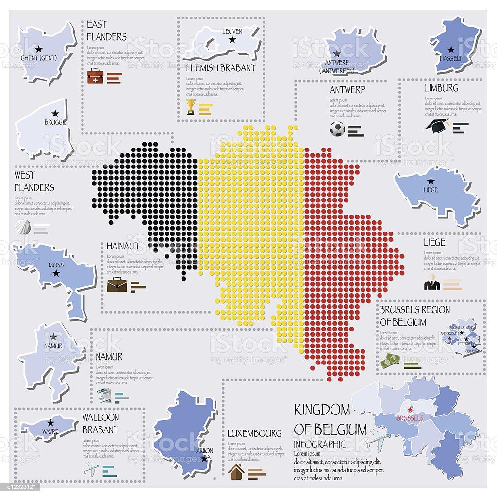 Dot And Flag Map Of Belgium Infographic Design vector art illustration