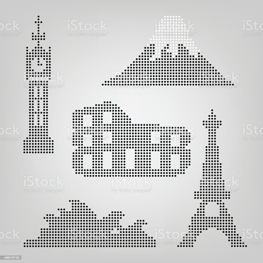 Dot design architecture monument or landmark icon Bigben,Fuji,Co vector art illustration