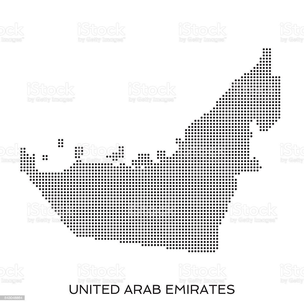 UAE dot halftone pattern map vector art illustration