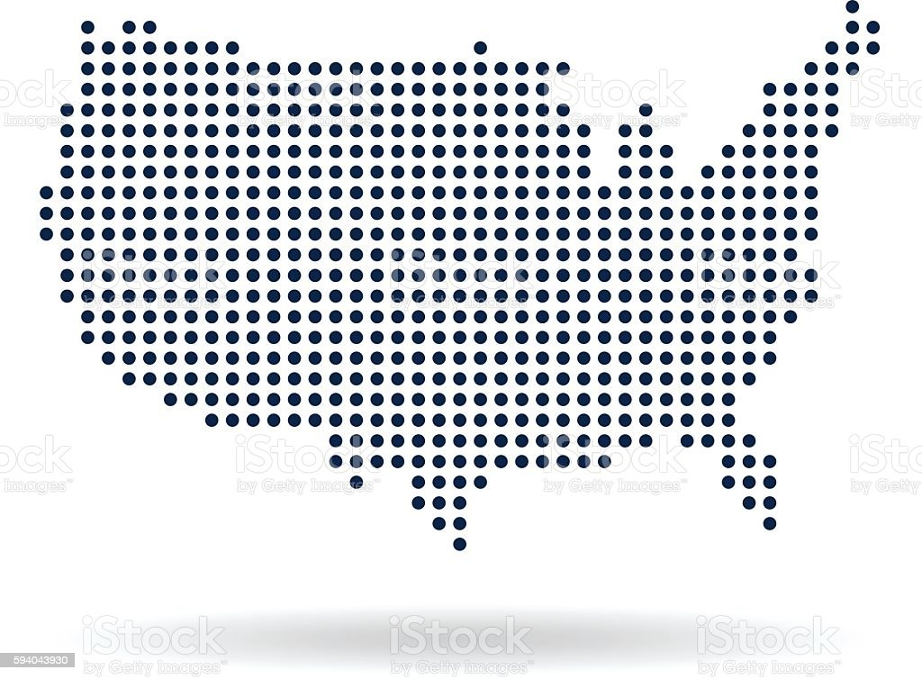 Usa Dot Map Concept For Networking Technology And Connections - Us map dot