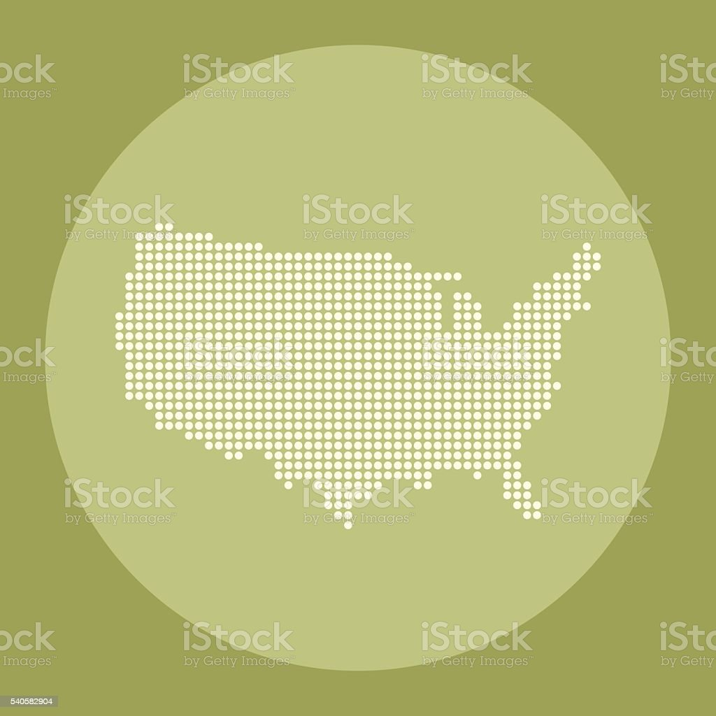 USA dot map on green olive circle background vector art illustration