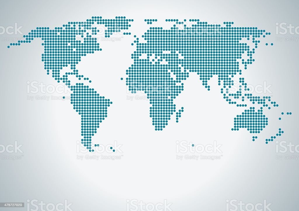 Dot World Map with Copy Space vector art illustration