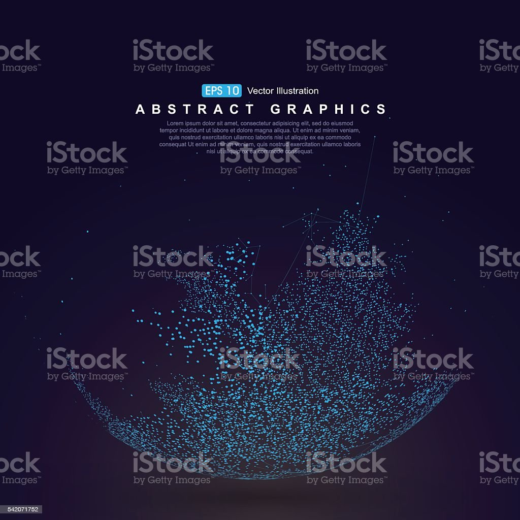 Dots three-dimensional map of the world, abstract graphics. vector art illustration