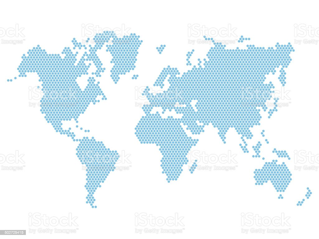 Dotted Blue World Map Isolated on White. Vector royalty-free stock vector art