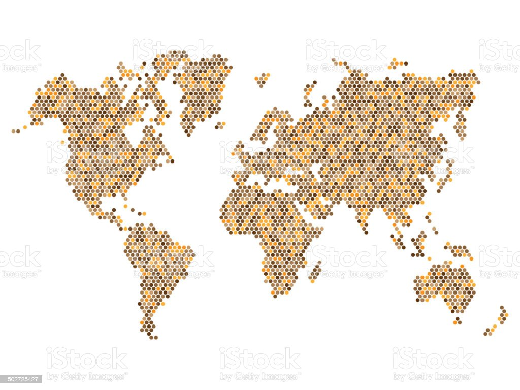 Dotted Brown World Map Isolated on White. Vector royalty-free stock vector art