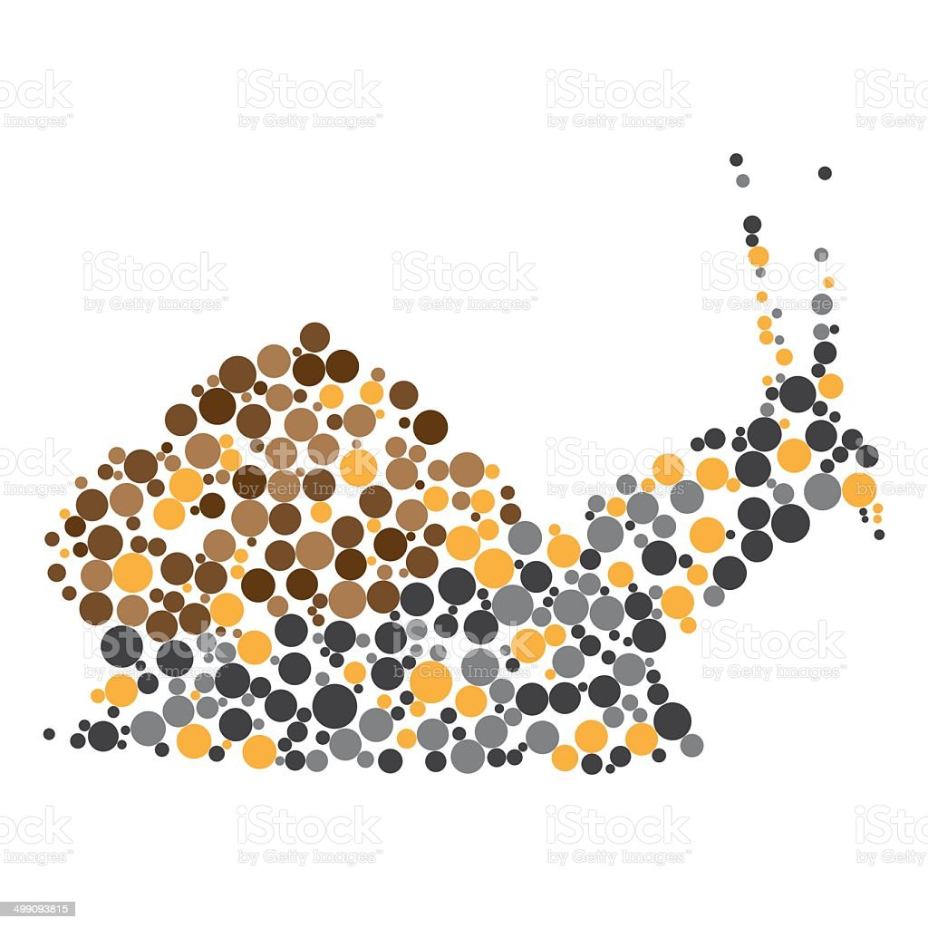 Dotted colorful snail silhouette royalty-free stock vector art