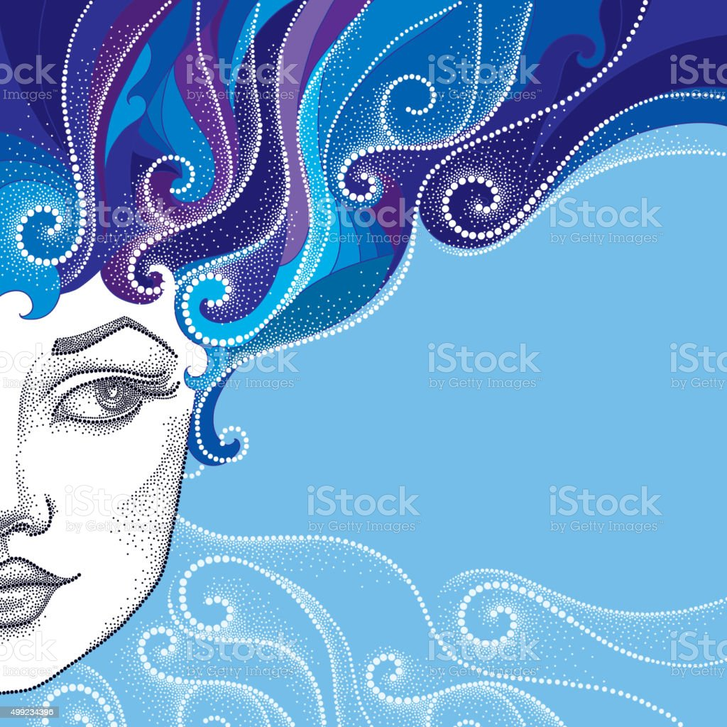 Dotted half beautiful woman face with abstract curly hair vector art illustration