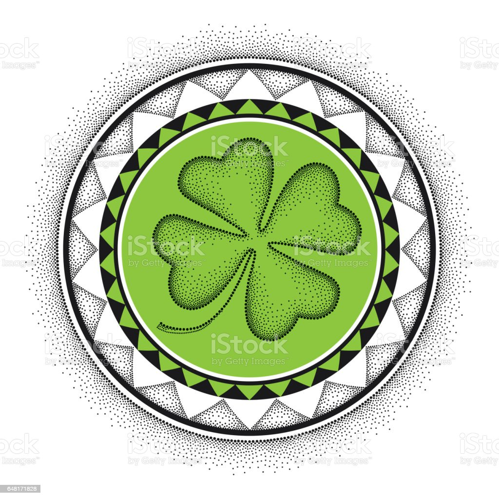 dotted lucky four leaf clover and round mandala in black and green
