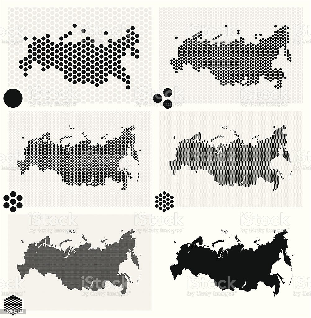 Dotted maps of Russia in different resolutions vector art illustration