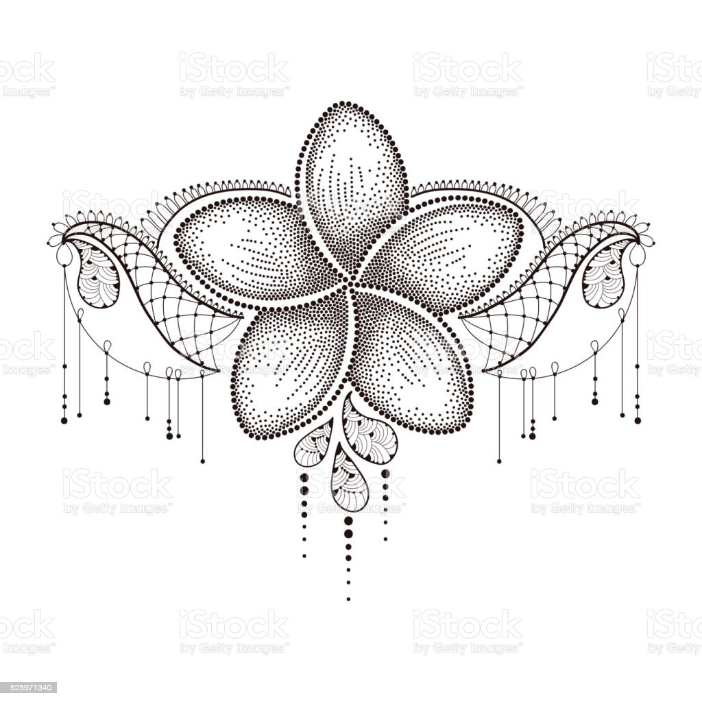 Dotted Plumeria in black with decorative lace isolated on white. vector art illustration