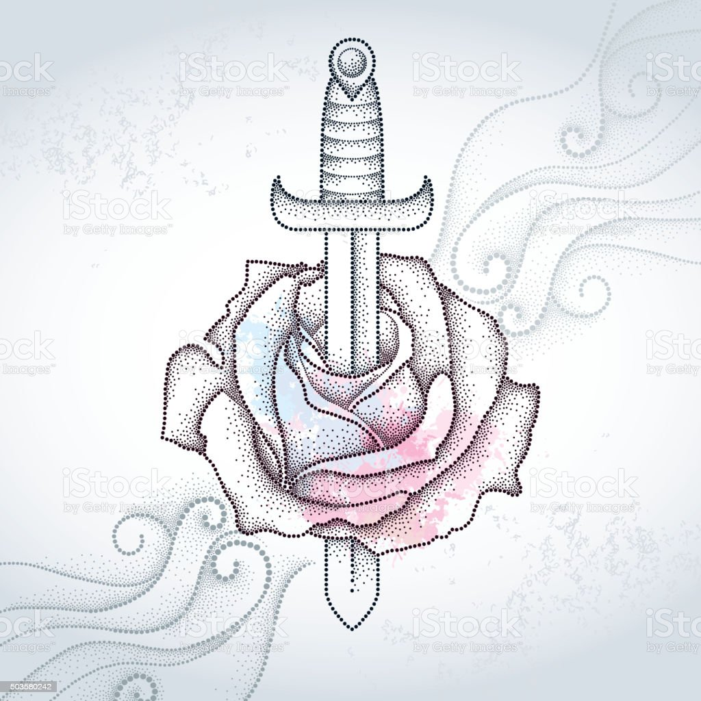 Dotted rose and dagger on the gray background with swirls. vector art illustration