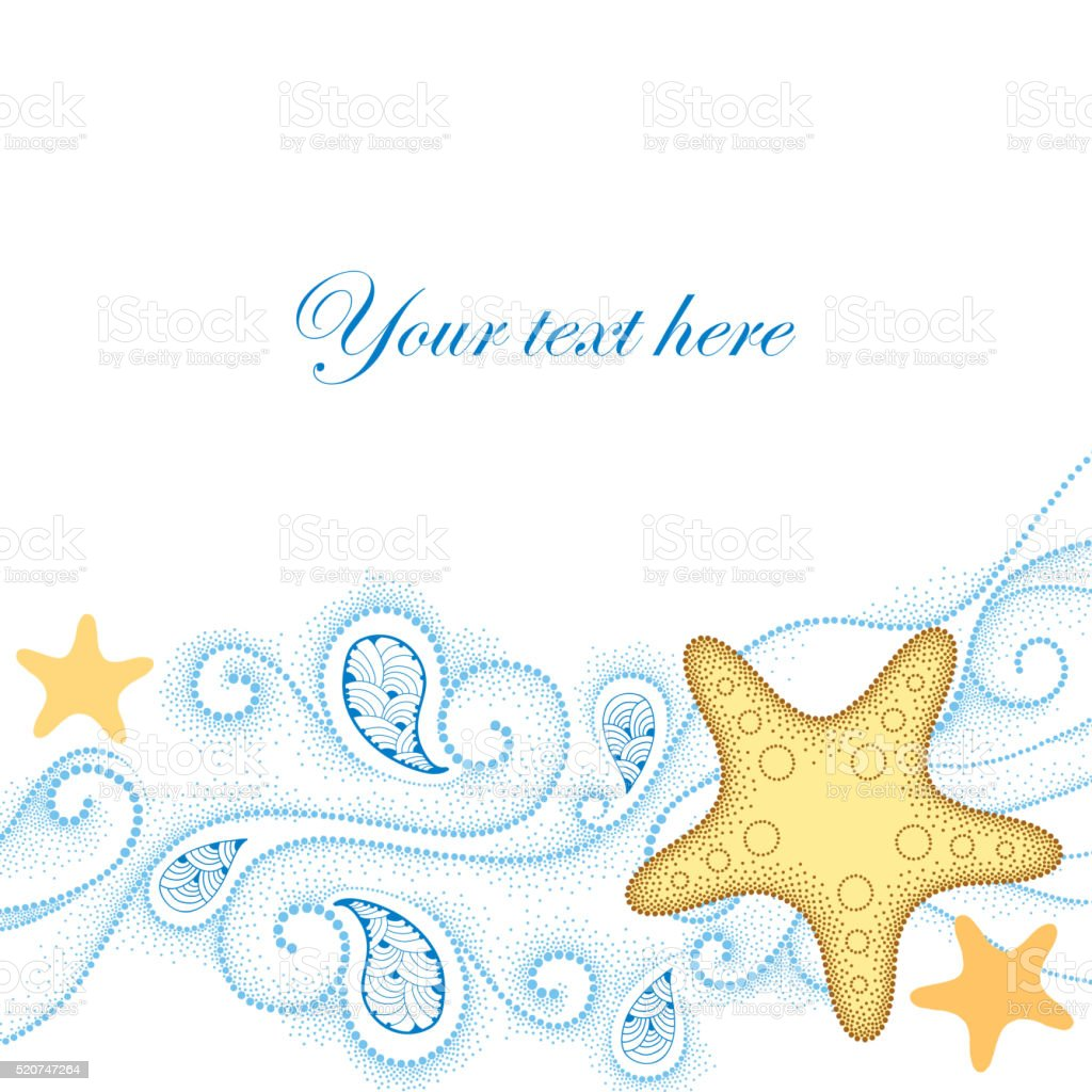 Dotted Starfish and blue curly lines isolated on white. vector art illustration