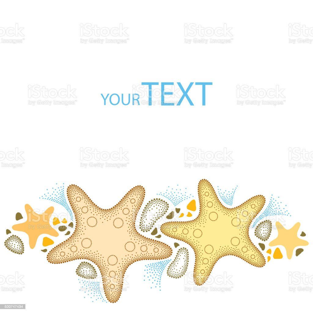 Dotted Starfish in beige and pebbles isolated on white background. vector art illustration