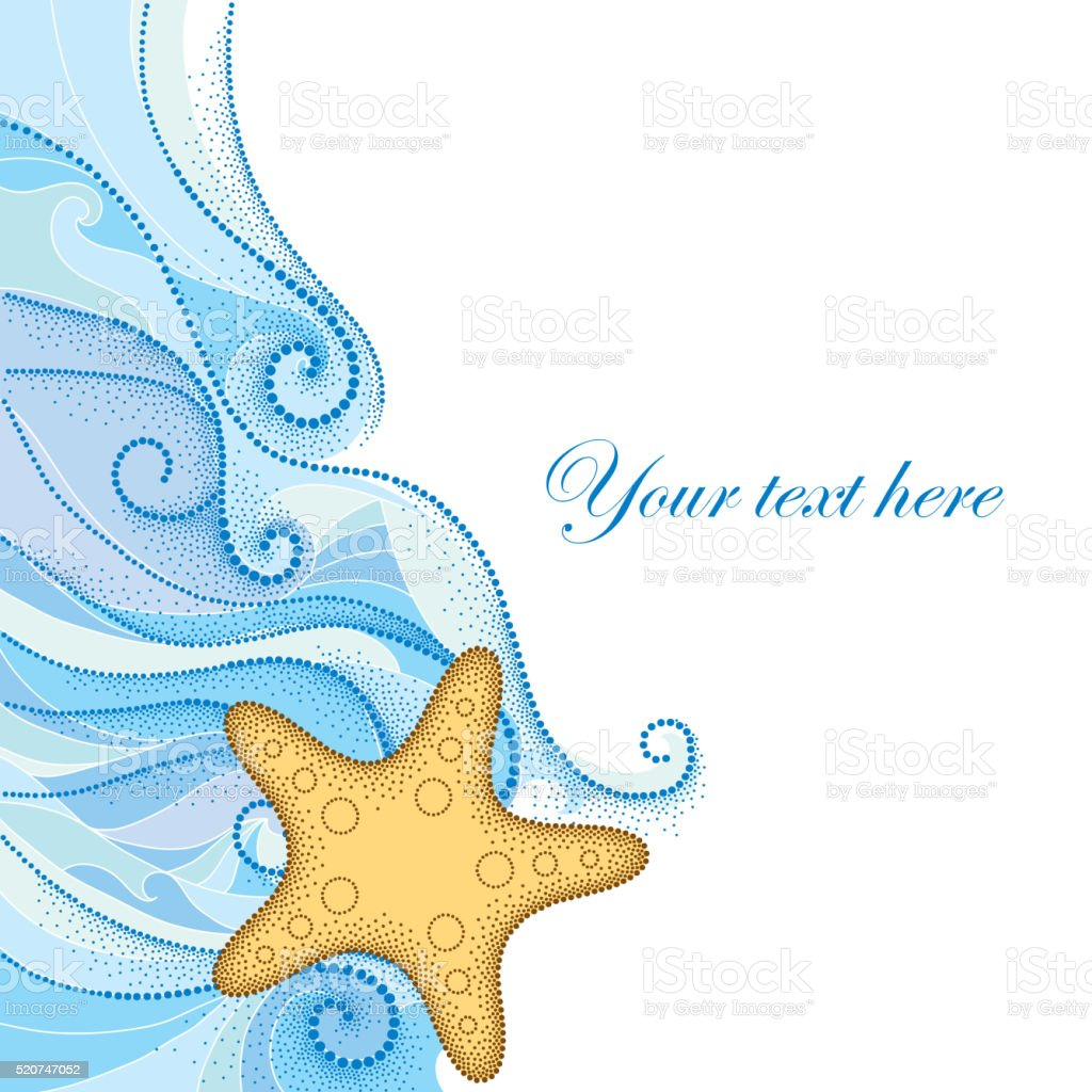 Dotted Starfish or Sea star and lines isolated on white. vector art illustration