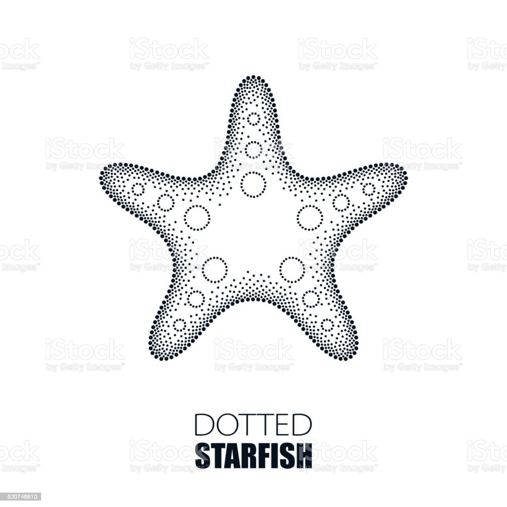 Dotted Starfish or Sea star in black isolated on white vector art illustration