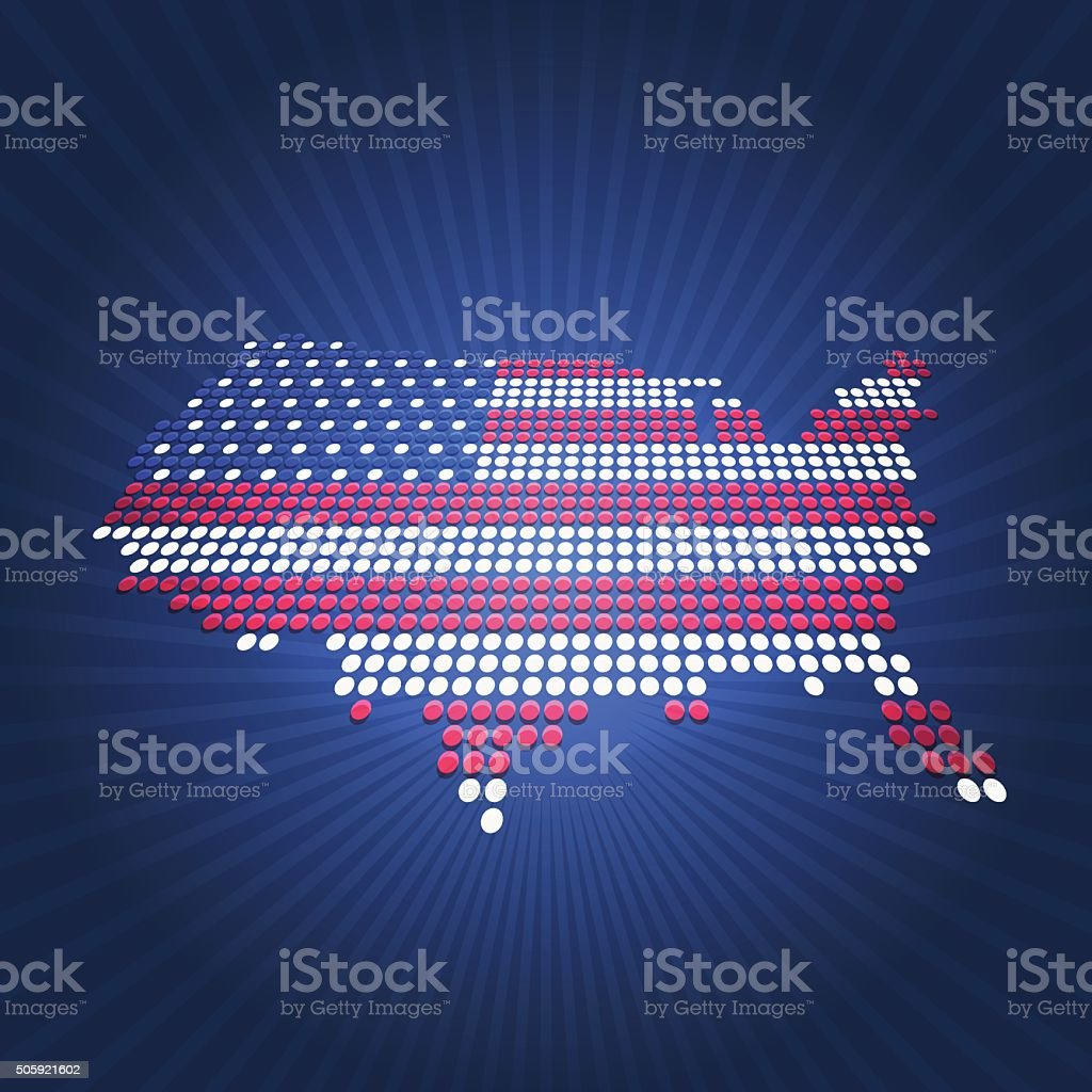 Dotted USA election flag map perspective view on blue background vector art illustration