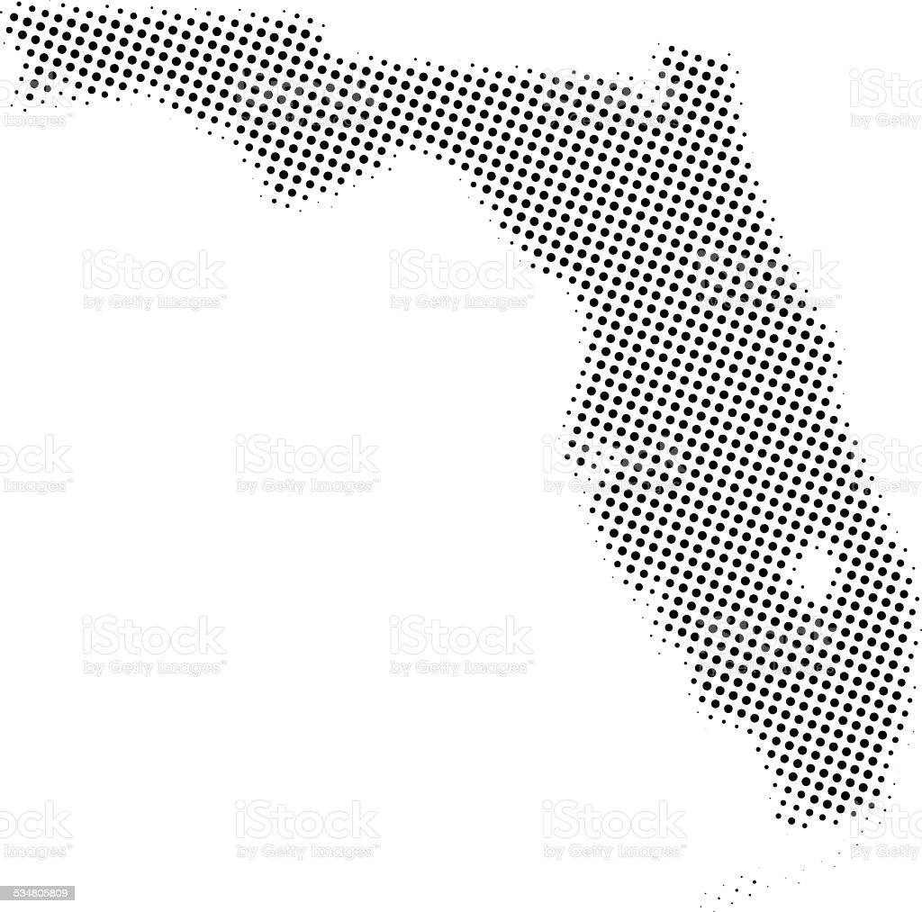 Dotted Vector Map Of Florida Stock Vector Art  IStock - Florida map black and white