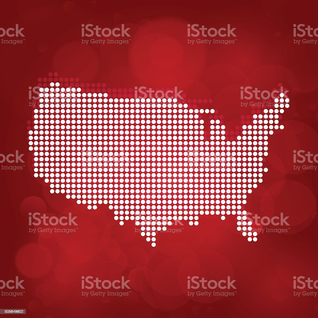 Dotted White Usa Map On Red Dark Background Stock Vector Art - Us map all white red background