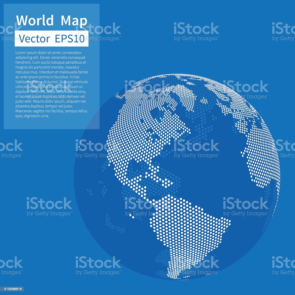 Dotted World Map Background. Earth Globe. Globalization Concept vector art illustration