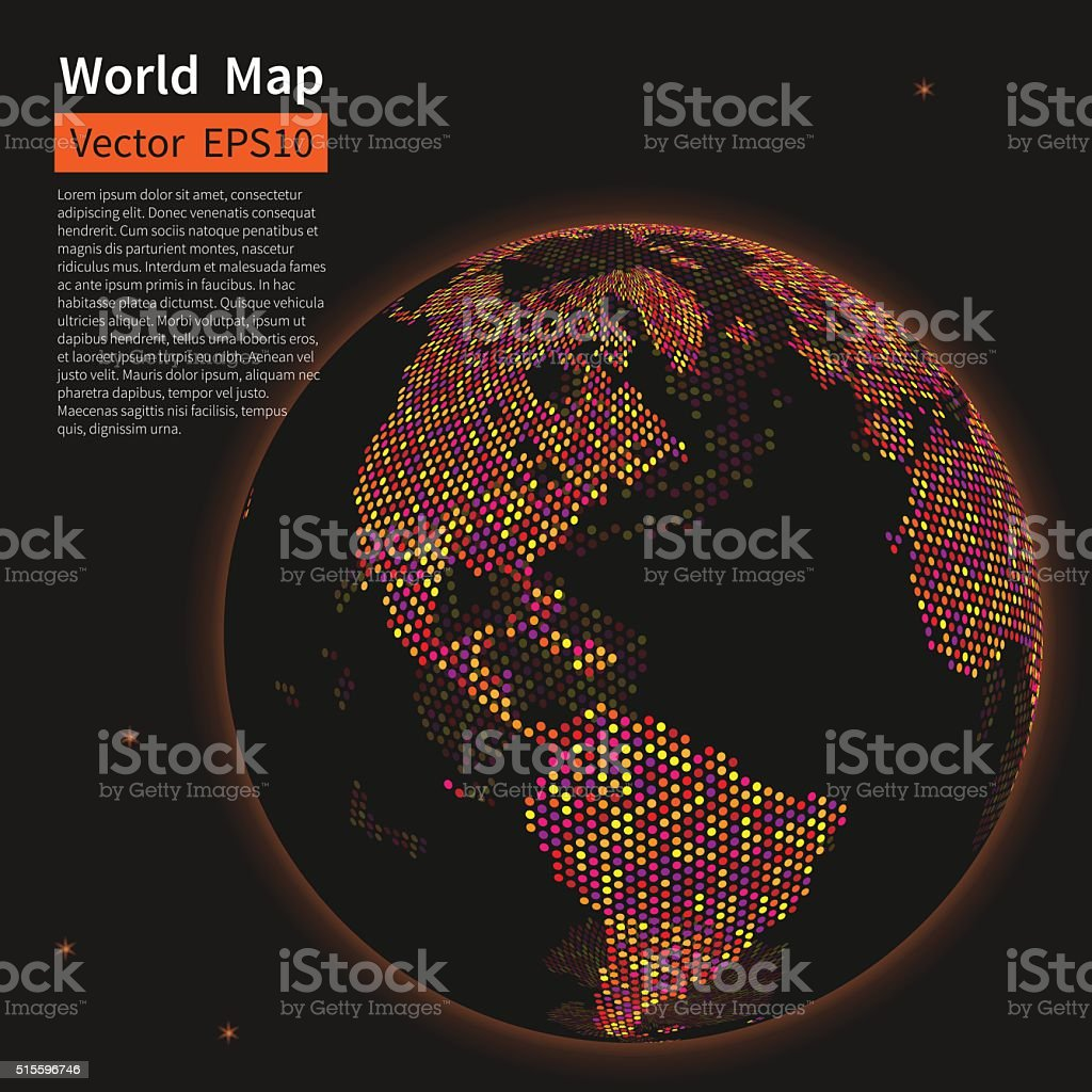 Dotted World Map Background. Night Earth Globe. Globalization Co vector art illustration