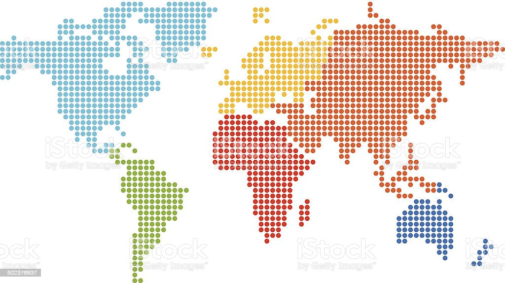 Dotted World Map vector art illustration