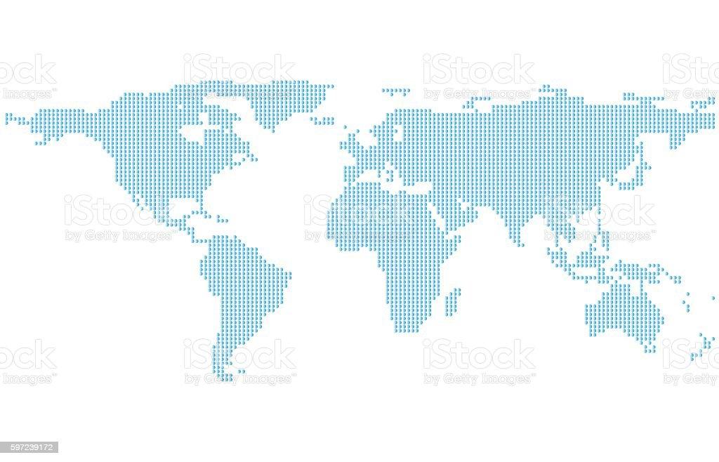 Dotted World Map. vector art illustration