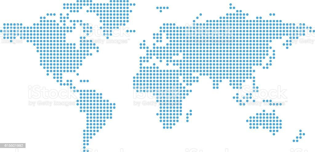 Dotted world map. vector art illustration