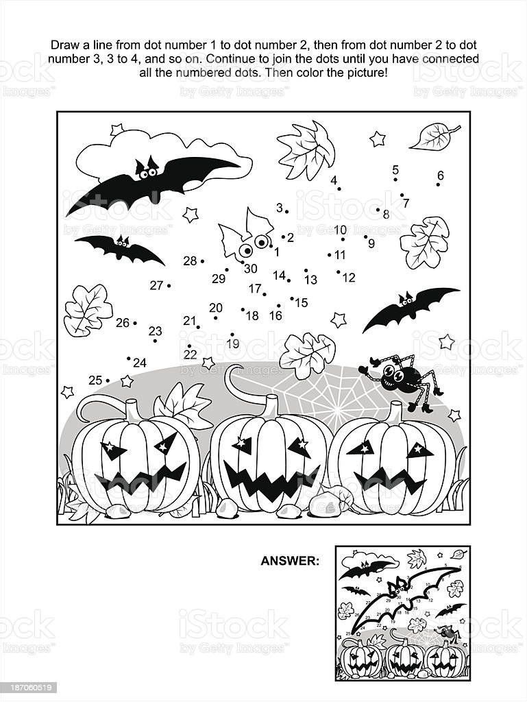 Dot-to-dot and coloring page - Halloween bat vector art illustration