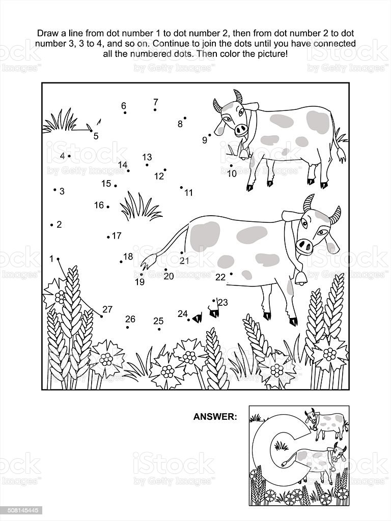 dottodot and coloring page letter c cows and cornflowers stock