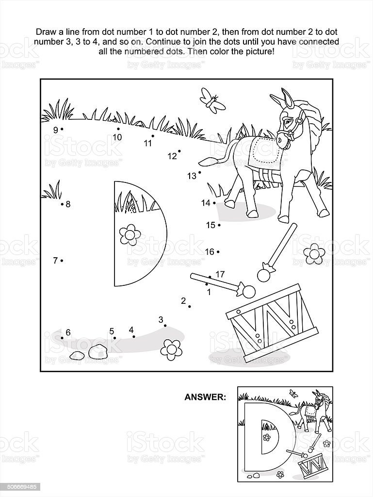 dottodot and coloring page letter d donkey and drum stock vector
