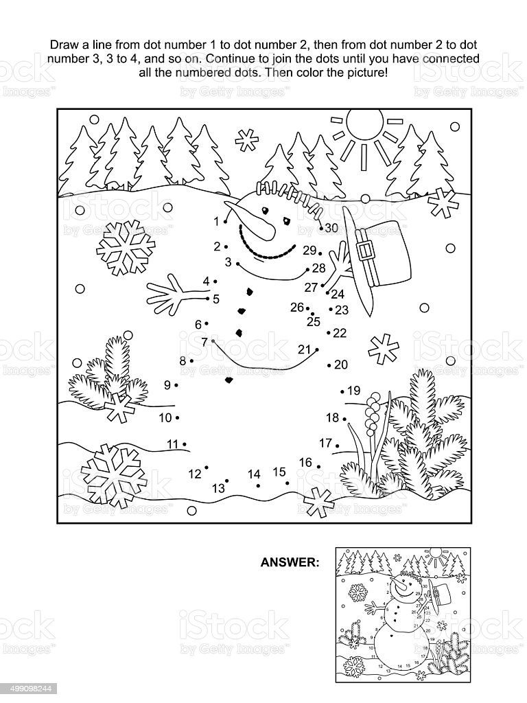Dot-to-dot and coloring page - snowman vector art illustration